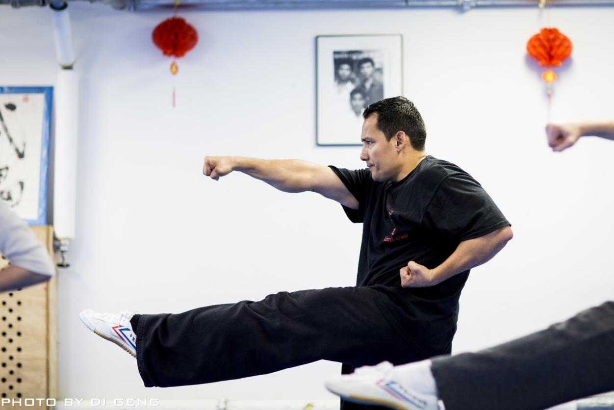 Punch and kick technique at Xinyi-Dao Kung Fu Academy on Long Island