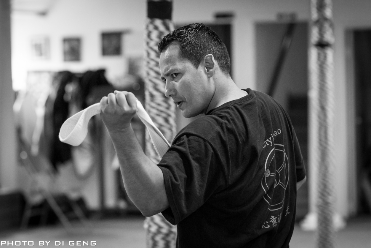 Strength training using Kung Fu belt at Xinyi-Dao Kung Fu Academy on Long Island
