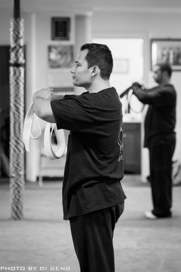 Salute before form training at Xinyi-Dao Kung Fu Academy on Long Island