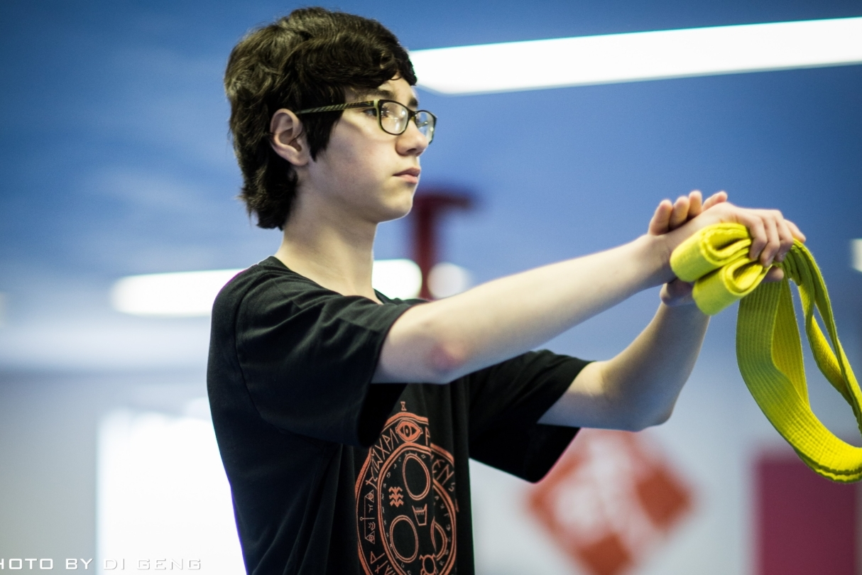 Salute during class at Xinyi-Dao Kung Fu Academy on Long Island